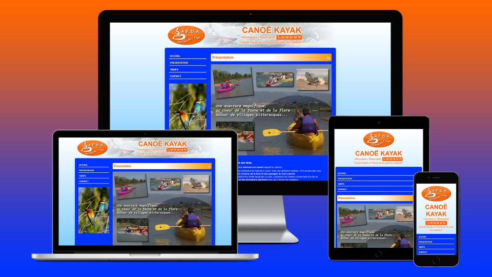 creation site internet canoe kayak afda provence